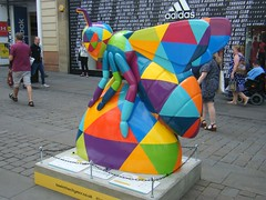 Manchester Bee -- Harlequin Bee - Banks Bee = GONE NOW (rossendale2016) Tags: fibre glass unusual biggest massive gigantic realistic fantastic excellent past ancestry market afterwards after statues hundred over out spread away town artist artistic clever information popular quarter northern north started based worker icon large dry fine sunny holiday shopping location central september july donation sale attraction tourist shops footpath walkway insect bee charity glossy painted brightly bright colour color multi coloured multicoloured psychedelic revolution industrial industry symbol iconic colourful centre city bees art street manchester