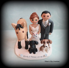 Wedding Cake Topper (Trina's Clay Creations) Tags: art sculpture clayfigure weddingcaketopper wedding whimsical weddingcake weddingdecor caketopper customcaketopper claycaketopper trinasclaycreations trinaprenzi topper brideandgroom animal pet polymerclay personalized groomscake dog horse