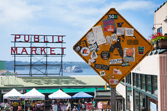 Public Market In Seattle, Washington (thedot_ru) Tags: publicmarket market sign sky clouds skyporn ship boat road stickers streetart art sticker pedestrian building structure tents tent washington seattle wa usa america united states us unitedstates travel travels travelling trip adventure wanderlust streetphotography street people canon 5d 2014