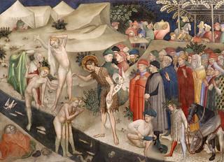 fratelli Salimbeni - Lorenzo (1374 - prima del 1420) e Jacopo (1347 - dopo 1427) - San Giovanni battezza le folle sulle rive del fiume Giordano (1416) - Oratorio di San Giovanni Battista - Urbino