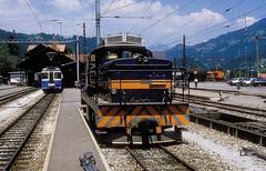 MOB 2004  Zweisimmen  01.07.86 (w. + h. brutzer) Tags: zweisimmen eisenbahn eisenbahnen train trains schweiz switzerland railway diesellok mob webru analog nikon