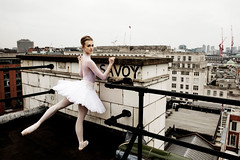 Dancers photographed from the top of The Savoy Hotel