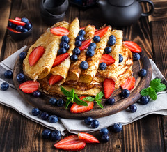 Pancakes with beries (Speleolog) Tags: pancake breakfast homemade sweet dessert stack berry fresh tasty food delicious nutrition fruit blueberry meal pile morning gourmet baked pastry white bakery closeup plate hot background lunch american golden traditional wooden snack cake cooked crepe healthy nobody buttermilk stacked cuisine round sauce mint table leaf culinary coffee gluten vegetarian strawberry