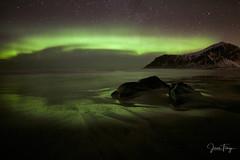 Green Beach (Joep10) Tags: norway auroraborealis colour green purple lofoten ice snow landforms mountain nopeople noperson nature 4when time night northernlight