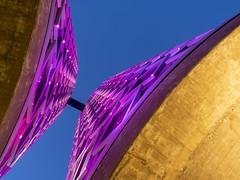 Sugar City 2018: Purple lookup (mdiepraam) Tags: sugarcity halfweg 2018 industrial architecture dusk building factory bluehour lookup purple geometry