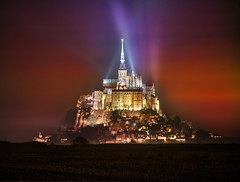Mont Saint Michel Lights (Stuck in Customs) Tags: france ratcliff stuckincustoms stuckincustomscom trey treyratcliff mont saint michel hdr hdrtutorial hdrphotography hdrphoto island religion lights beams red culture ancient church cathedral monastery spire longexposure night