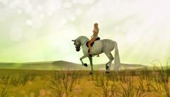 Green like hope (Kayleigh Lavender*) Tags: horse riding whrh sl secondlife devinseye desert green light