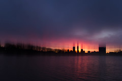 (cara zimmerman) Tags: indianapolis whiteriver sunrise morning sky colorful early silhouette city icm