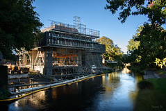 Lots More Work to Do Yet (Jocey K) Tags: newzealand christchurch nikond750 architecture building earthquakerepairwork christchurchtownhall construction reflections river water avon avonriver trees victoriasq