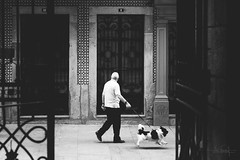 The flying dog (RuiFAFerreira) Tags: bw black white canon contrast doors exterior 50mm man dog portugal porto street