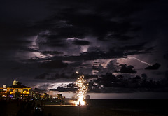 Fireworks (lightonthewater) Tags: lightning lightonthewater ocean beach pineapplewillys gulfofmexico thunderstorm storm sand florida floridathunderstorm fireworks clouds cloudy