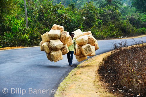 Tripura Vendor on way to Market to sale Handicraft  made with Bamboo.Daily Life