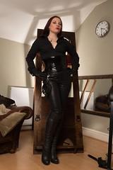 (vujo1017) Tags: mistress dominatrix domina pvc leather skirt fetish fetishwear strict headmistress teacher boots gloves corset