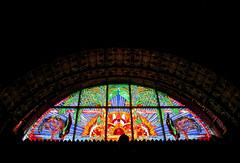 Glasmosaikfenster (Don Claudio, Vienna) Tags: ernst fuchs museum otto wagner villa benzin hütteldorf wien vienna kunst art wiener schule phantastischer realismus window fenster tiffany glasmosaik