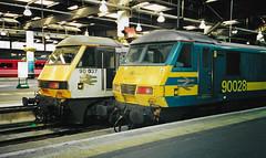 90028 & 90037 Euston (Scan) (Waddo's World of Railways) Tags: 90 028 037 90037 90028 class90 ac loco locomotive rail train londoneuston euston london eustonstation