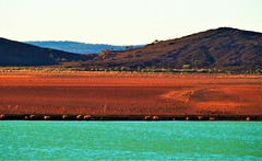 Stephens Creek Reservoir in a Dry Year, Broken Hill, New South Wales, Australia (Red Nomad OZ) Tags: brokenhill sunset stephenscreekreservoir australia newsouthwales nsw desert outback livingdesert lake landscape line