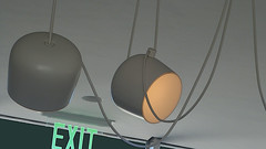 A17338 / lights, camera, exit (janeland) Tags: davis california 95616 yolocounty manettishremmuseum may 2018 lightfixture lighting neon green blacksky ongrey pe0 cropped
