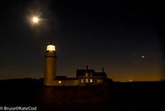 NIght Lights at Truro Station, Cape Cod (Bruce@KateCod) Tags: highlandlighthouse truro capecod atlanticocean moon stars