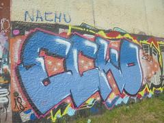 299 (en-ri) Tags: ecko 2018 18 blu nero rosa arancione torino wall muro graffiti writing parco dora