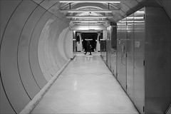 melbourne-0931-ps-w (pw-pix) Tags: tunnel round circular curved walls lights floor cupboards cabinets equipmentcabinets marks person man boy walking looking train carraiges parliament sign lighted lit bw blackandwhite stark futuristic modern modernism trainstation railwaystation platform platform3 station underground metro cityloop cityloopstation parliamentstation cbd melbourne victoria australia peterwilliams pwpix wwwpwpixstudio pwpixstudio