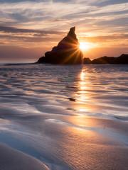 Bedruthan Star (Timothy Gilbert) Tags: wideangle sunset ultrawide lumix boulders rocks panasonic1235mmf28x beach sunstar bedruthansteps m43 microfourthirds patterns microfournerds seastack coast cornwall gx8 panasonic