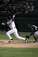 HEADED TO FIRST (MIKECNY) Tags: baseball hit hitter batter swing catcher homeplate tricityvalleycats astros minorleague nypenn league nypennleague