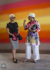 Shot from the Hip 2 (allentimothy1947) Tags: art california dirosamuseum exhibition napacounty light shootingfromthehip visitor di rosa museum napa county colorful couple hip old opening reception shooting from standing wall shoes bag glasses skirt bloose hat minimalist top