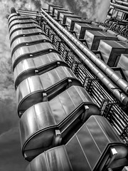 Lloyds of London (derek.dpr) Tags: lloyds architecture architectural london bw black bianco nero noir monochrome mono olympus omd em1 on1pics on1 modern stairs