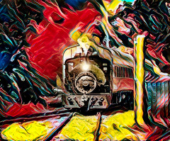 Get on board the Crazy Train (Podsville) Tags: july michigan owosso steamrailroadinginstitute topazairemix railroad summer