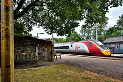 Peace And A Pendo (whosoever2) Tags: uk united kingdom gb great britain england nikon d7100 train railway railroad july 2018 oxenholme lake district station cumbria virgin pendolino class390 390125 9s44 london edinburgh