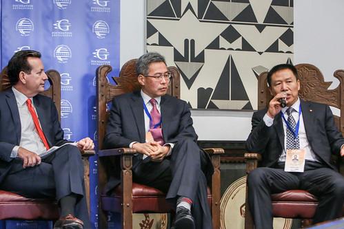 Panel 1: Mike Walter, Qi Bin, and Raymond Qiao