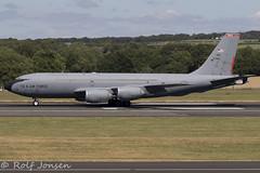 63-7993 Boeing KC-135R US airforce Prestwick airport EGPK 09.07-18 (rjonsen) Tags: plane airplane aircraft aviation military takeoffroll tanker stratotanker