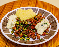 Strasburg sausage with pistachio nuts, parsley and cheeses (garydlum) Tags: merseyvalleycheese parsley strasburgsausage pistachionuts brie cheese bluecheese chermside queensland australia au