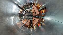 Azkuna Zentroa - Inside 2 (pano360º) (Juan Ig. Llana) Tags: bizkaia bilbao azkunazentroa alhóndiga philippestarck ricardodebastida interior columnas panorámica esférica 360 gigapan epicpro littleplanet techo piscina gente hdr explore