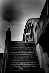 Urban space 687 (soyokazeojisan) Tags: japan osaka bw sky street city people blackandwhite walk analog monochrome stairs bridge olympus 100mm neopanss fujifilm film memories 昭和 1970s 1975