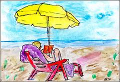Urlaub (manfredkirschey) Tags: urlaub strand sonnenschirm buch frau horizont gelb blau