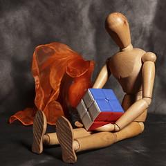 Cubist (N.the.Kudzu) Tags: tabletop stilllife wooden mannequin rubikscube glass vase scarf canondslr canonefslens