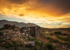 Old Cabin (dwblakey) Tags: california landscape desert mountains easternsierra bishop history sky cabin outdoors mustangmesa structure evening