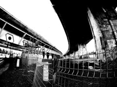 Verdun Under (MassiveKontent) Tags: streetphotography montreal bw contrast city monochrome urban blackandwhite street photo montréal quebec photography bwphotography streetshot architecture asphalt concrete shadows noiretblanc blancoynegro geometric cityscape gopro fisheye metropolis road overpass