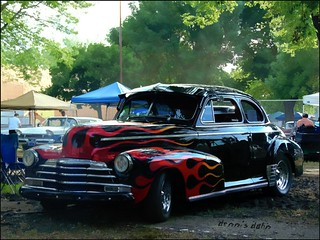 Flaming Chevy coupe