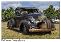 844 UYE Chevrolet (Paul Simpson Photography) Tags: paulsimpsonphotography car classiccar classic hotrodamerican pickup truck transport sonya77 summer2018 july heatwave sunshine carshow carshows doncaster england rusty f28 transportation vehicle chevrolet grass field windscreen windshield oldcar