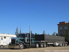 James Davis Trucking Kenworth W900L (Michael Cereghino (Avsfan118)) Tags: jdt james davis trucking kenworth w900l w 900 w900 900l l sleeper 4 axle quad heavy haul hauler flatbed load tarp semi