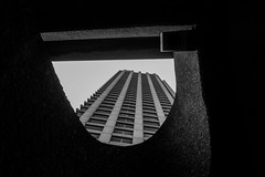 327/365 - Barbican shapes (Spannarama) Tags: 365 november blackandwhite lookingup building tower concrete brutalist architecture curve staircase barbican london uk framed framewithinaframe