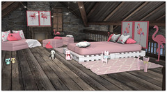 .Flamingo Bedroom (Abi Latzo) Tags: beedesigns thechapterfour gacha homeandgarden home inside indoor interiordesign furniture mesh flamingo bed bedroom decor rug secondlife sl shopping
