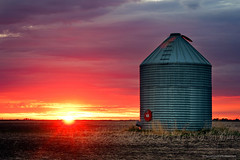 A Silo and a Sunset (ScottSmith.Photos) Tags: silo sunset evening colourful sky sun field prairie countryside rural manitoba canada deloraine composition landsacape clouds