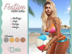 Festive summer glitter (EVOKE SL) Tags: secondlife virtual virtualworld sl summer glitter sticker tattoo project product design original beach bikini silver gold copper lightgold