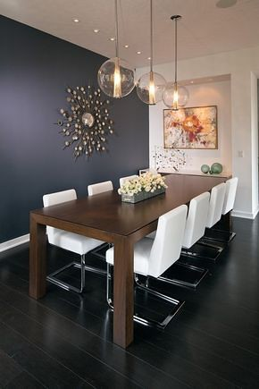Beautiful mix of textures and light in this modern but cozy dining room.