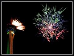 Suspended (VegasBnR) Tags: nikon nevada night sigma strip stratosphere strat fireworks vegas vegasbnr lasvegas colorful 4th 702 7200