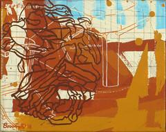 Rose Chair Leg (Marc Bosworth) Tags: marcbosworth artist wichita kansas painting mixedmedia acrylic foundobjects collage printmaking lino linoleumblock reliefprinting collagraph screenprint