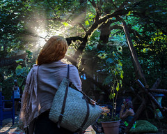 Keina, walking into the light (dsgetch) Tags: ocf2018 ocf oregoncountryfair ocfexternalsecurity pnw pacificnorthwest pnwlife cascadia oregon willamettevalley lanecounty venetaoregon beautiful sunset pnwsunset silhouette sunbeams pretty gorgeous sunlight beauty